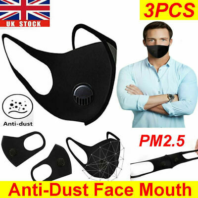 Breathable Anti Air Pollution Haze Face Mouth Mask Filter Respirator Washable UK