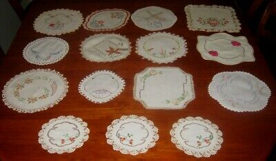 15 Vintage Hand Embroidered Doilies ~ Cream/White~ Linen/Cotton ~ Lace Edged