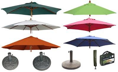 Garden Parasol Wooden Round Square Sun Shade Patio Hardwood Umbrella Base Cover