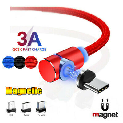 1-2m 90 Degrees Magnetic Charging Wire Cable For Samsung Quick Charger Cord Data