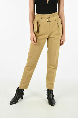 GENTRYPORTOFINO women Trousers Brown Belted Straight Pleated Pants Sz 40 IT  ...