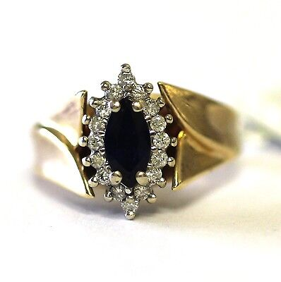 10k yellow gold ladies .25ct SI2 H diamond blue sapphire gemstone ring 6.4g