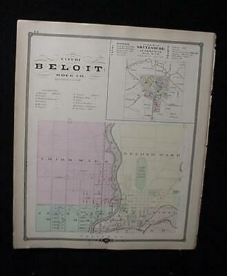 1878 Wisconsin Atlas City Plat Map-Beloit-Janesville-Shullsburg