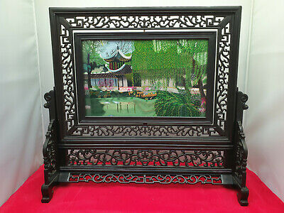Beautiful made 20th century silk picture carved wooden framed table screen