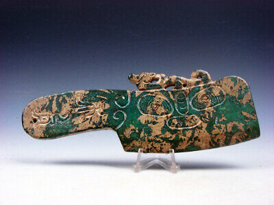 Old Nephrite Jade Stone Carved Ancient Cleaver Phoenix Top Carvings #03262007