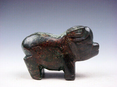 Old Nephrite Jade Stone Carved Sculpture Ancient Fat Pig Piggy Standing #032620