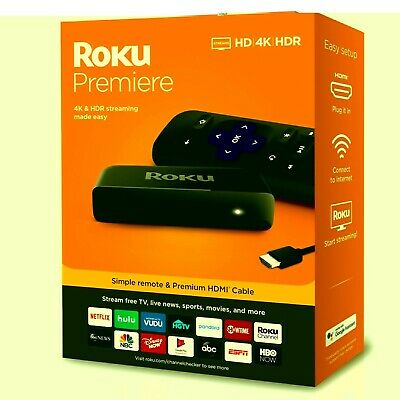 Streaming Media Player 4K HDR HD Remote HDMI Cable Works W Google Assistant