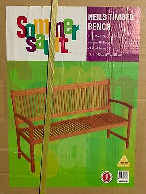 3 Seater Timber Wooden Bench Seat Garden 145cm New In Box