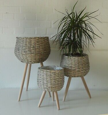 Large Willow Rattan Wicker House Plant Flower Pot Planter Wood Stand Holder