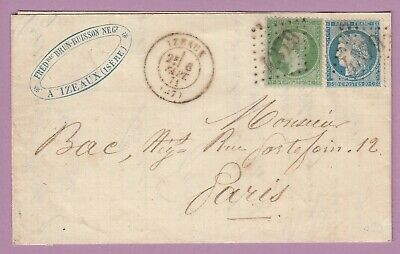 N°20 37 Gc 4379 Izeaux Isere 6 Septembre 1871 Paris Lettre Cover