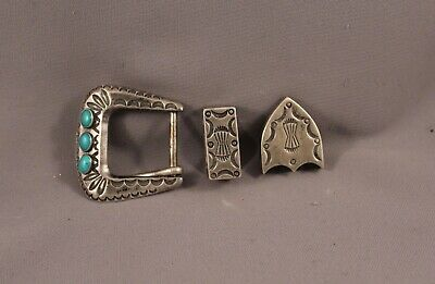 Old Pawn Navajo Silver And Turquoise  Ranger  Belt Buckle ..