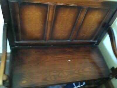 Antique Hallway Storage Seat Settle Monks Bench Pew