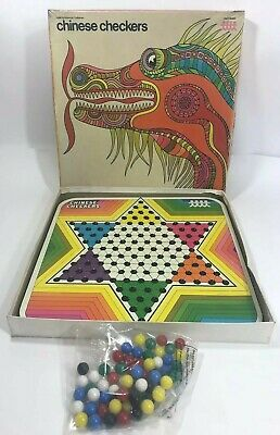 VINTAGE 1973 CHINESE Checkers Pressman Rainbow Steel Board Game Marbles & Box