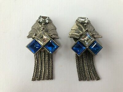 Antique/Vintage Large Heavy Art Deco Metal Clip On Earrings with Glass Stones