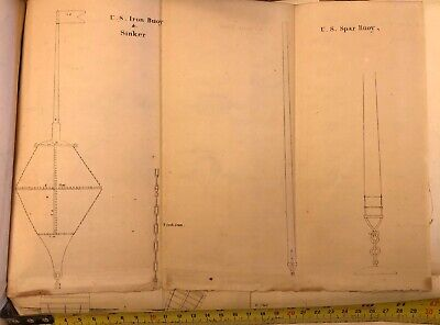 Circa 1850 Maritime Drawing Of U.S. Buoy And Sinker And U.S. Spar Buoy Antique