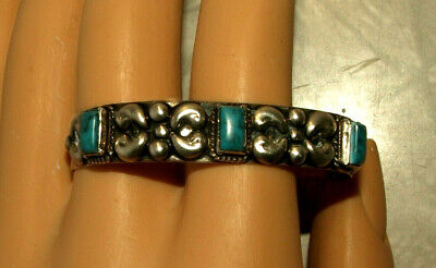 Sterling silver 925 turquoise vintage ornate small childs cuff bracelet Mexico