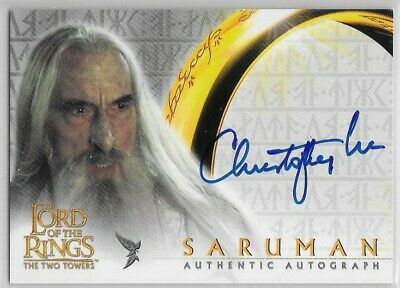 2002 Topps Lord of Rings Two Towers CHRISTOPHER LEE as Saruman Autograph Auto TT