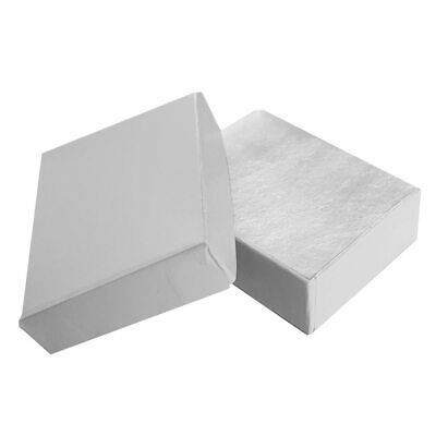 100 Glossy White Cotton Filled Jewelry Earring Ring Pin Gift Packaging Boxes
