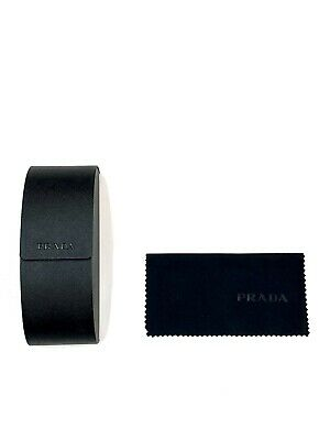 NEW Prada Saffiano Black Leather sunglasses case with cleaning cloth