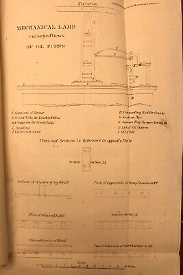 Circa 1850 Maritime Drawing Of Lighthouse Mechanical Lamp 170 Yrs Old