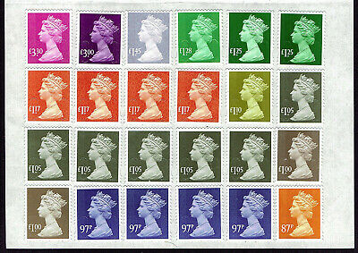 24 Unfranked Mixed Higher Value Definitive Self-Adhesive Stamps FV£29.49