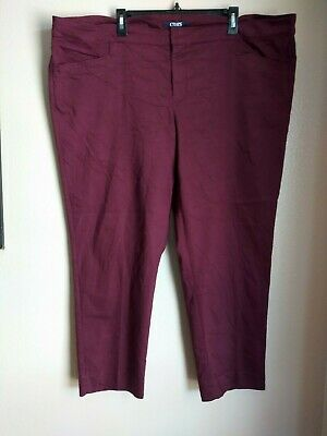 Chaps Womens Size 22W Slimming Fit burgundy stretch ankle Length Dress Pants .