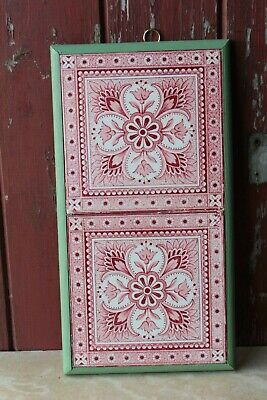 Antique Arts Crafts Tiles Red Pair Framed Minton Style