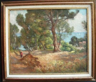 19th Century COTE D'AZURE FRENCH IMPRESSIONIST Antique Oil Painting SIGNED