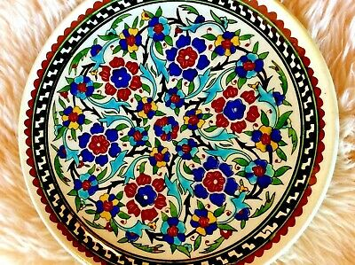 """Kutahya Turkish Plate Wall Hanging 10.75"""" Floral Ceramic Middle East Turkey"""