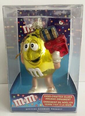 YELLOW PEANUT M&Ms CANDY GUY BLOWN GLASS CHRISTMAS ORNAMENT KURT ADLER NIB  5""