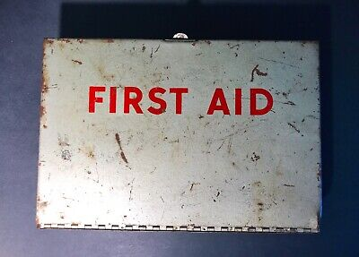 Vintage First Aid Kit Metal Box W/ Mixed Supplies and Advertising