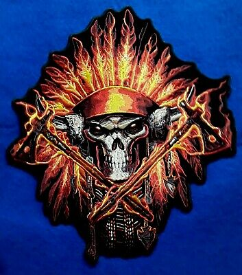 Large Indian Chief Flaming Headdress Embroidered Biker Patch 12''  By 10.5''
