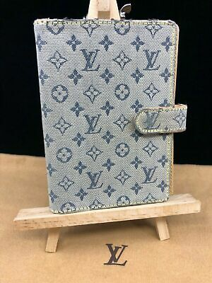 Louis Vuitton LV378 Ring Agenda Cover Blue Tan Mini Lin Monogram Canvas