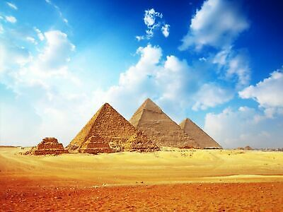 Sunset Egypt pyramids Art Deco Poster Wall Fabric Canvas 3133