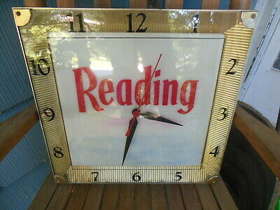 Vintage READING BEER CLOCK Sign RUNS & LIGHTS UP Gold AP PA Pennsylvania