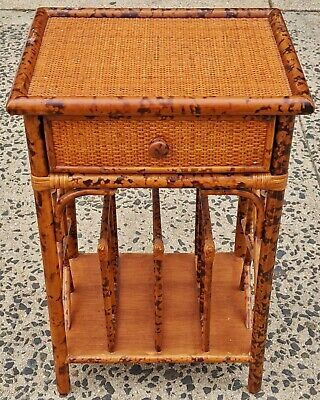 Vintage Mid-Century MODERN English BAMBOO RATTAN Magazine Rack STAND Side TABLE