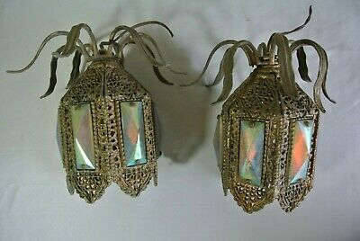"PAIR Antique Victorian Ormolu ""Jeweled"" Hanging Fairy Lamp Ceiling Lights"