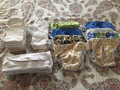 SWADDLEBEES Cloth Diaper Lot - 7 Covers, Inserts, Doublers