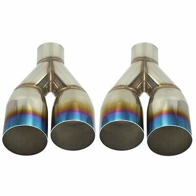 """2X Blue Burnt Exhaust 2.5/""""In 3.5/""""Out L /& R Duo Polished Tip Staggered Stainless"""