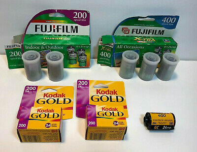 Lot of 8 Expired 35mm Film Kodak Gold, Kodak Max, Fuji Superia / 192 Exposures