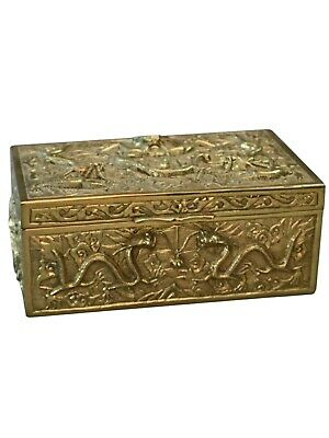 Antique Chinese Gilt Bronze Dragon Relief Wood Lined Tobacco Box Humidor18Th C