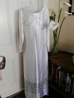 VINTAGE  1960's EMPIRE LINE WEDDING GOWN  with SILVER THREAD EMBROIDERY DETAIL