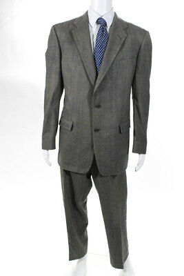 Burberrys Mens Two Button Notched Lapel Pleated Suit Gray Wool Plaid 42 Long