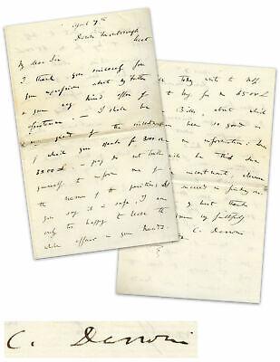Charles Darwin Autograph Letter Signed w Beckett LOA