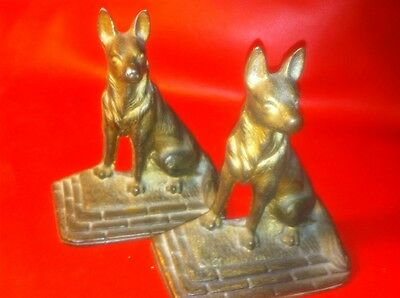 Matching Pair Of 2 Old Antique Cast Iron Bookends German Shepherds dog Mark #15