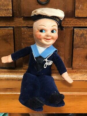 "Adorable ANTIQUE VINTAGE NORAH WELLINGS SAILOR  CLOTH DOLL ""Fairstar"" SHIP"