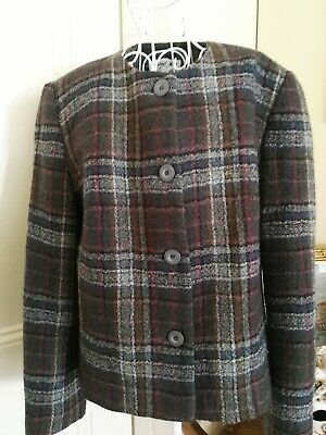 Retro Lined Pure Wool Tweed Shorter Length Jacket By Walnut Hill Australian Made