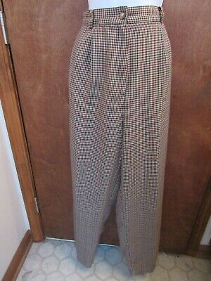 Requirements Women Dress Pants Tan(Cream) with Black, Brown, & Red Plaid  14