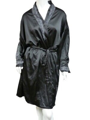 Vanity Fair Womens Silky Black Robe Lace Front Housecoat Negligee Cover Up