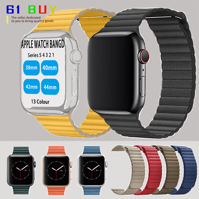 For Apple Watch Strap Genuine Leather Series 5 4 3 2 1 Magnetic Loop iWatch Band